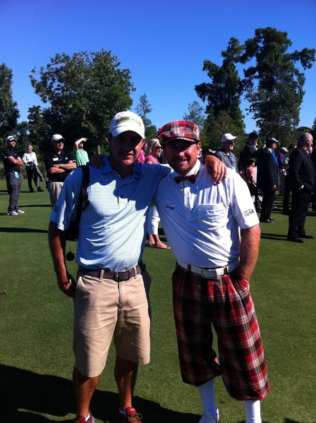 Here's me in my 1912 get-up today at the @zurich_classic with last weeks winning caddy @RickyElliott.  #plaid #fb