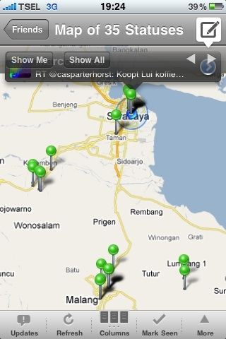 My recent Twitter locations