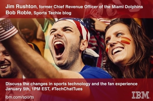 Join @jim_rushton and @SportsTechieNET this #TechChatTues 1pm #fanexperience #THINKoftheFan http://sportstechie.net/ibm-sports-tech-twitter-chat-with-sports-techie-and-ibmer-jim-rushton/