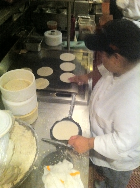 Elizabeth will turn out nearly 2000 handmade tortillas by the end of tonight's service. Heart of r kitchen!