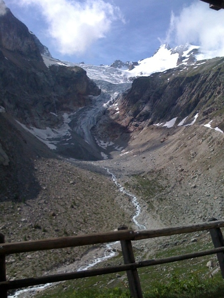 Now in Italy at foot of a glacier after passing grd col ferret
