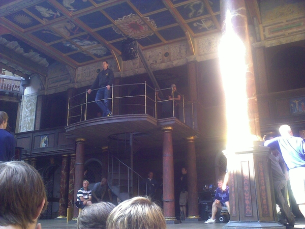 filming of St. Trinians 2 at the Globe Theatre