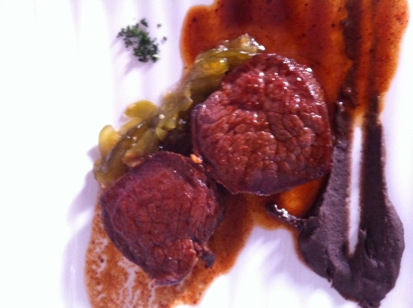 Pitiyona: venison in guajillo sauce w avoc-leaf black beans, bread-n-butter tomatillos