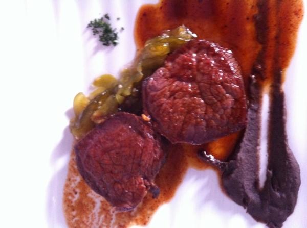 Pitiyona: venison in guajillo sauce w avoc-leaf black beans, bread-n-butter tomatillos
