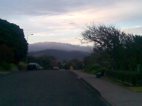 Looking back towards home i noticed the cloud covered hill