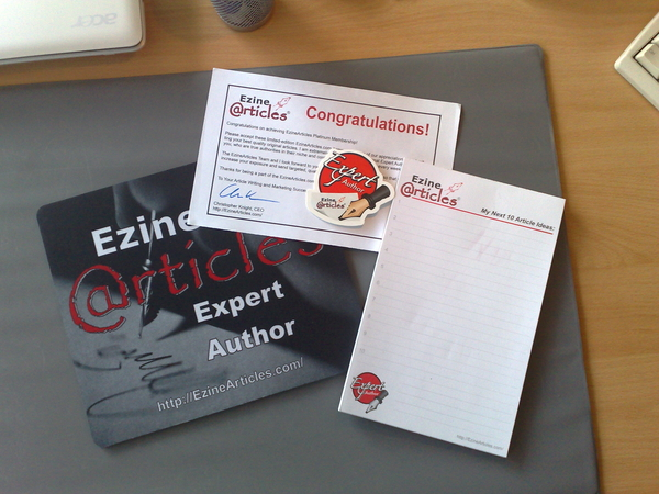 My eZine Platinum membership package just came in by mail