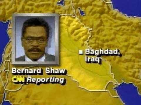 Hoorde van Desert storm van VS op Irak. Dagen CNN op TV\\\'s op de gang op school. Bernard Shaw: The skies over Baghdad have been illuminated http://prbt.nl/7E1DC265