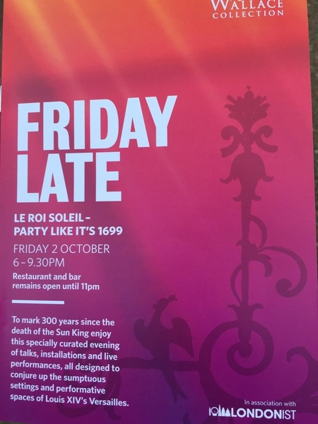 Friday night at the Wallace Collection for 'Le Roi Soleil'. Apparently we're going to party like it's 1699!