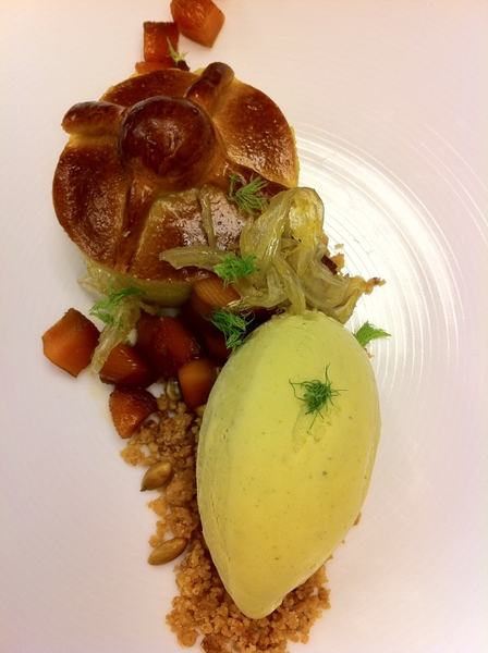 Tasting possibilities 4 Topolo menu w chef Jen Jones:Pan de Muerto bred pudding,pepita ice cream,calabaza en tacha