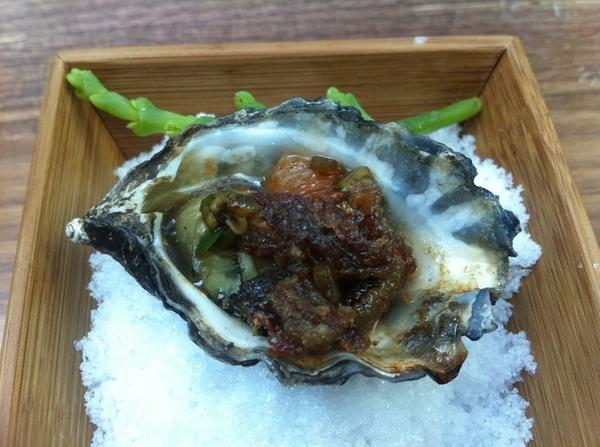 Mission 19: kumomoto oyster warm w crispy shortrib, spy, jalapeño, seabean