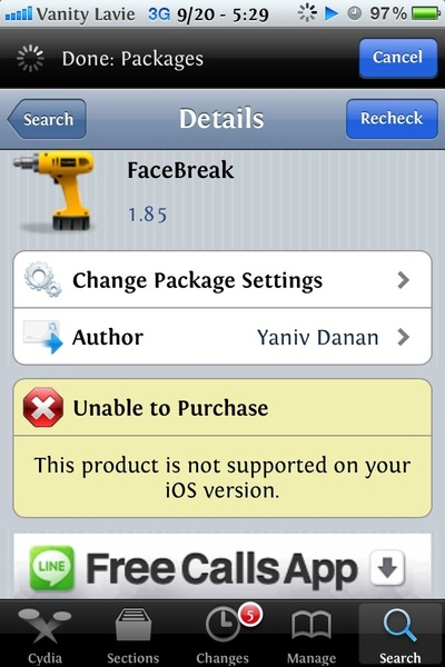 It's not in installus Cydia says I can't