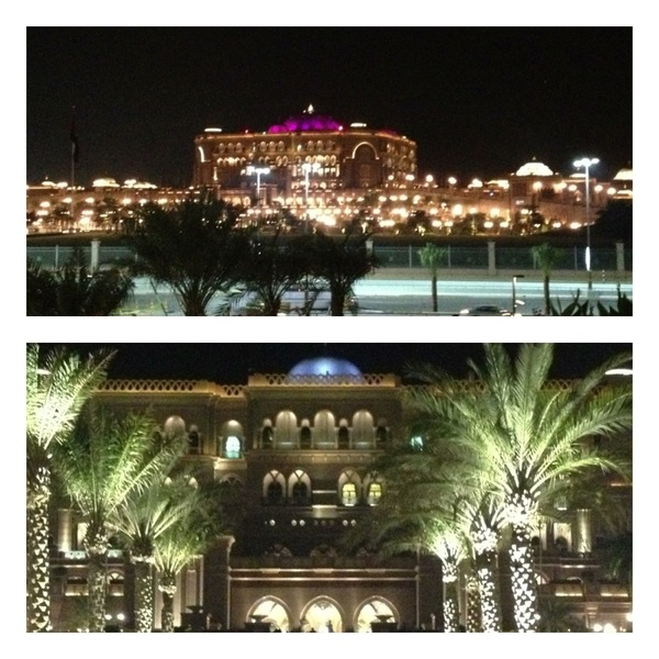Abu Dhabi: Emirates Palace Hotel at night. This place is SO BEAUTIFUL!