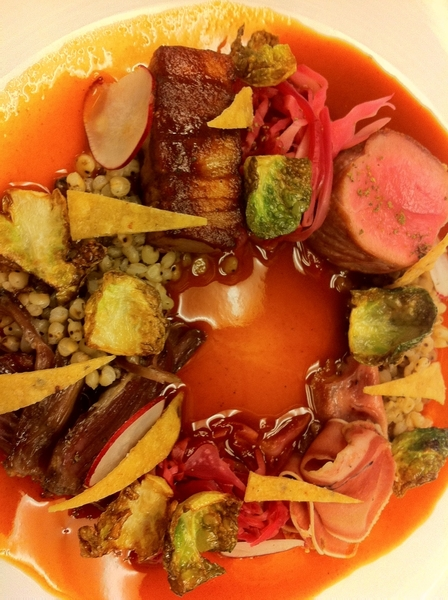 Tasting possibilities4Topolo menu w chef Brian Enyart: sorghum pozole w goat 4ways:loin, belly,neck,pickled tongue