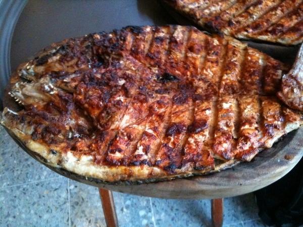 Contramar: pescado a la talla, split pargo (drum) cooked over coals with red chile marinade