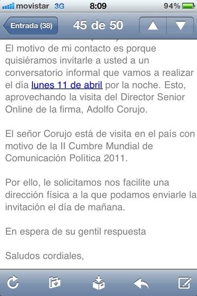 Lunes reunión bloguera con @adolfocorujo, previa de la @cumbre2011 Bienvenido a Quito nuevamente!