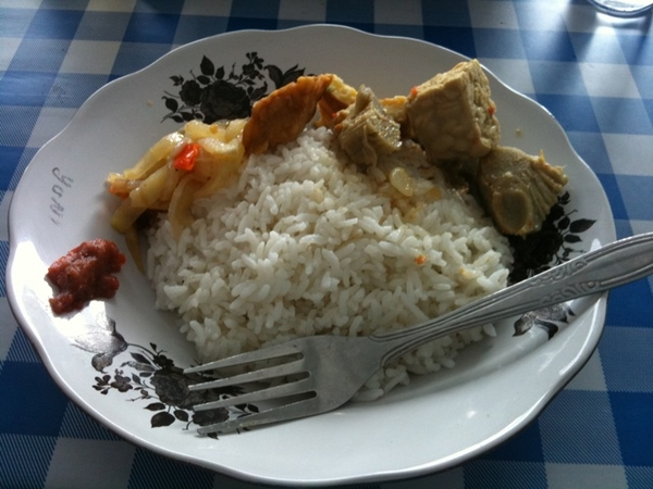 Nasi campoer with jackfruit and egg and tempe
