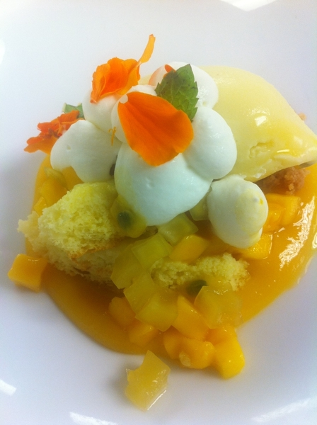 Dessert: Zuccardi wine din: lime pudding cake,  Manila mango,coco ice crm,passion fruit, MOTE . Torrontes tardif