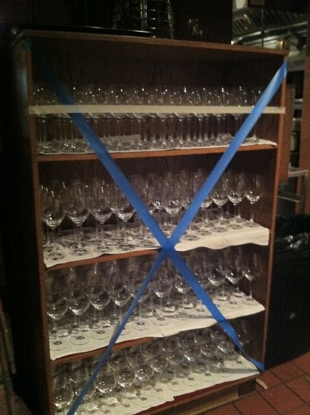 Part of 750 wine glasses that've been polished 4 tonight's Dinner Like No Other.Frontera Farmer Foundation benefit