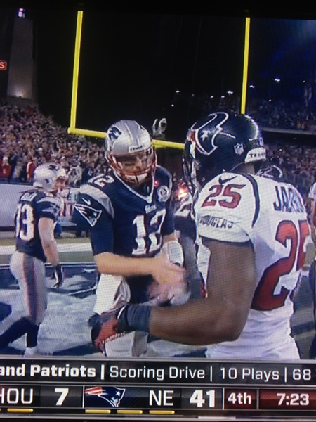 I'm all for sportsmanship, but Texans DB Kareem Jackson slapping five with Tom Brady after the Patriots scored to go up 41-7 was...um...odd.