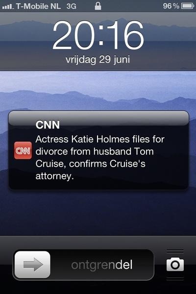 Ja, ik heb niet voor niets breaking news van CNN op de iphone. Goed dat ik dit meteen weet