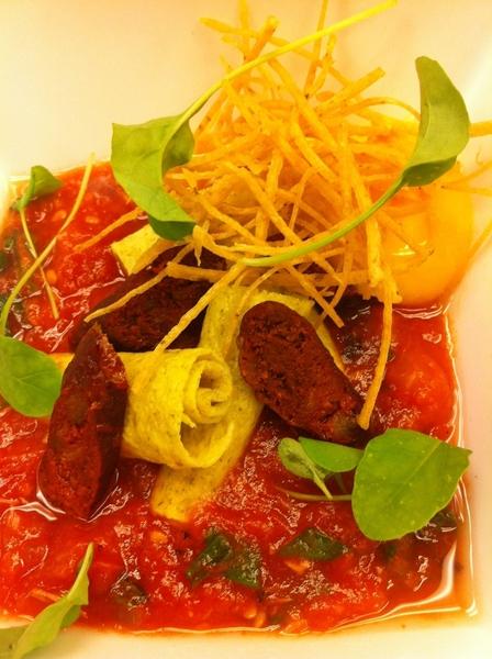 Yuc Menu #1: longaniza de Valladolid, Egg-pepita crepa, soft poached yolk, chiltomate,