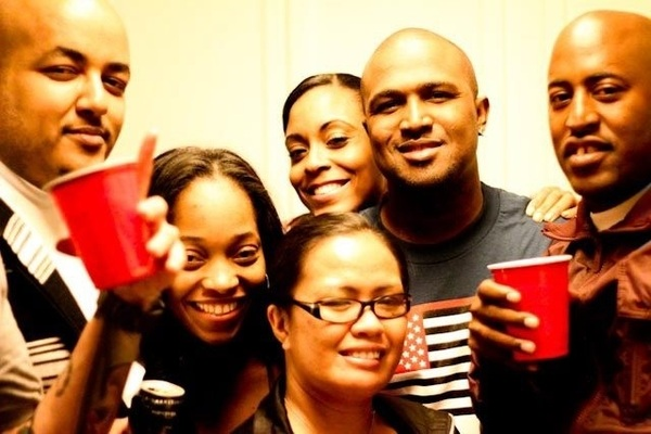 Folks and red cups