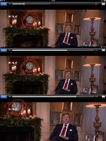 Klok te zien op achtergrond kersttoespraak koning WA staat stil, altijd twaalf uur bij de Oranjes