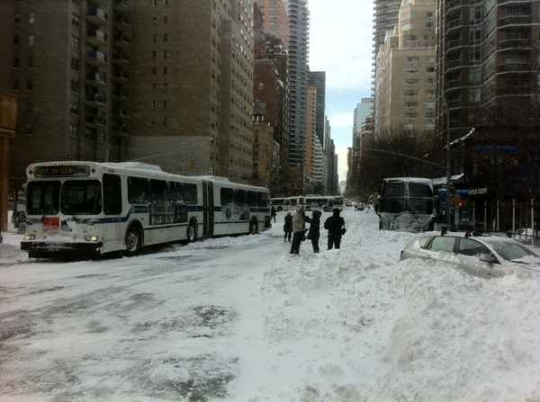 KO's Post-Blizzard NYC No. 3: The Bus Chaos. Burned Hampton Jitney At Right