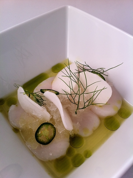 New Topolo Tasting goes live tonight: 1st course: Viking Village scallops in spicy aguachile, coconut shaved ice