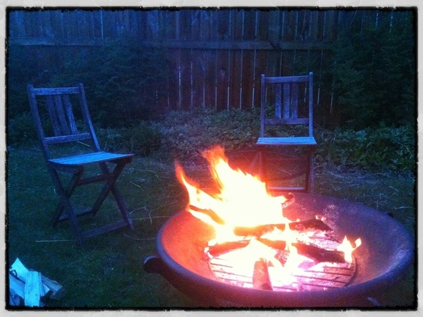 Had a nice fire with my lady last night Extra chairs just in case we had company #Calgary  #yyc #spring