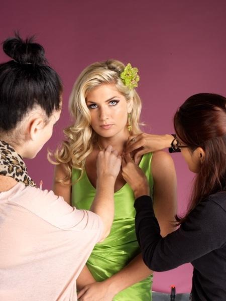 Preparing former #britainsnexttopmodel winner Lauren Macvoy for a jewellery shoot.