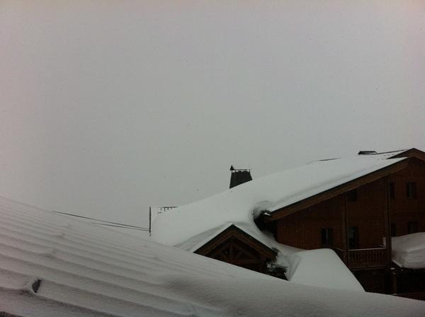 Vandaag een rustige dag, want dit is het zicht... Als het morgen beter weer is hebben we wel supersneeuw!