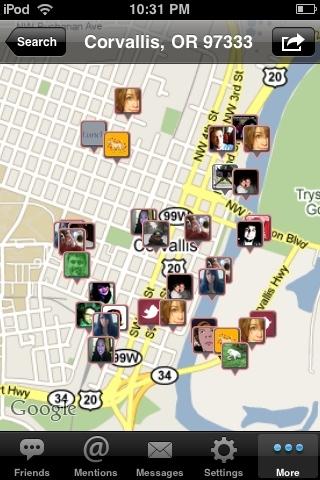 Map of Corvallis tweets via the new @twittelator update.
