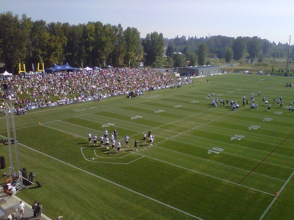 The berm is packed with about 2,500 fans for the final open practice of Bing Training Camp