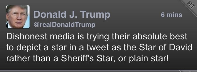 If it wasn't a Star of David @realDonaldTrump why'd you delete it? #YourAntisemitismIsShowing #WeLaughAtYou #Dipshit