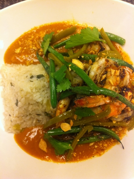 New Frontera Standout: grilled shrimp in Oaxacan almendrado w pckld jalapeño, grld green beans, Gulf wh rice