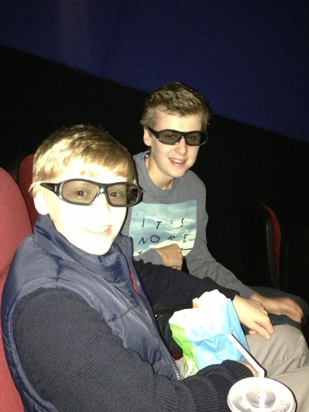 No golf...we all went to the cinema to see The Hobbit in 3D. The boys loved it!!