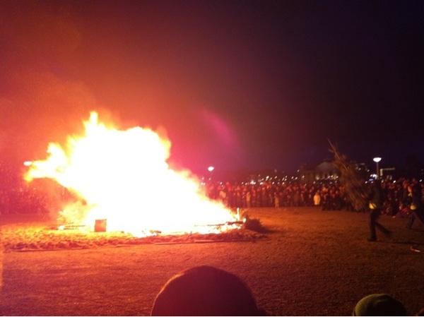 End of Xmas break... burning the Xmas tree on Museum Square