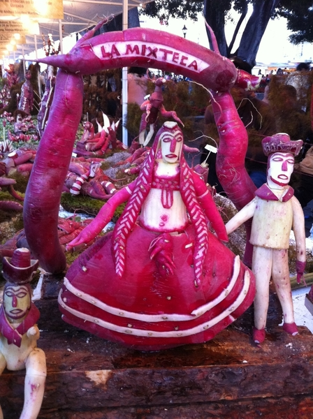 Oaxaca radish festival: meticulously carved 2-foot-high piece carved entirely of radish