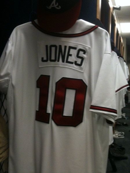 The Braves clubhouse is ready for today's first game of Spring Training.  #playball