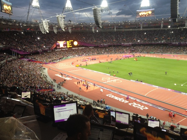 100-meter medal ceremony. Flash bulbs going nuts when they announced Usain Bolt.