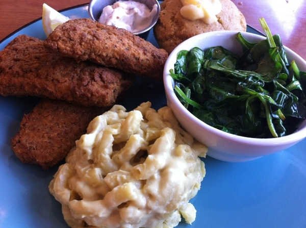 At Cornbread Vegan SoulFood Cafe.. It's pretty good.. Even the nonCheese MacNcheese #food & they only play reggae