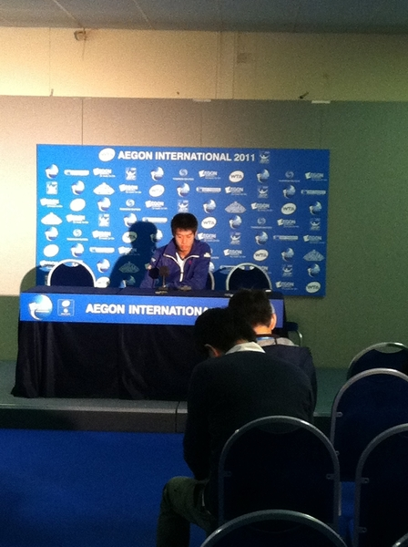 Barely made it to Kei's match but he lost..... It was very windy in Eastbourne.  Press now....
