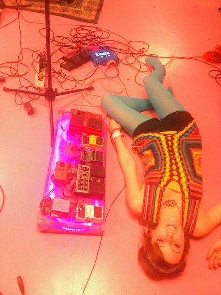 Laying on the pink floor!!! Linear Downfall stayed up all night recording King Crimson cover!!!