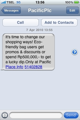 Pacific place encourages bringing your own bag