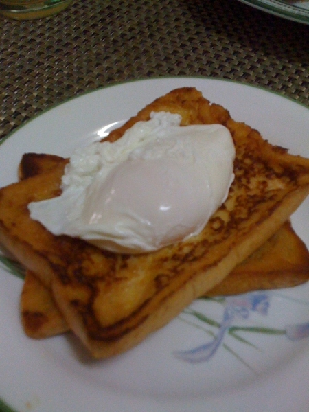 Made poached eggs this afternoon and tin-tin made some french toast to go with it.