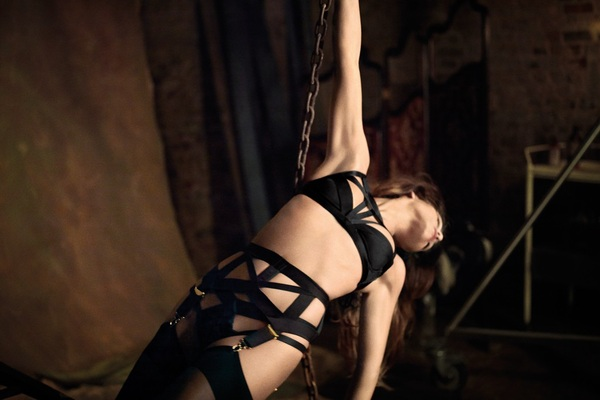 Penélope' sister Mónica Cruz fronts Agent Provocateur's FW12 campaign.Seductive meets Victorian Goth tied up & strapped.