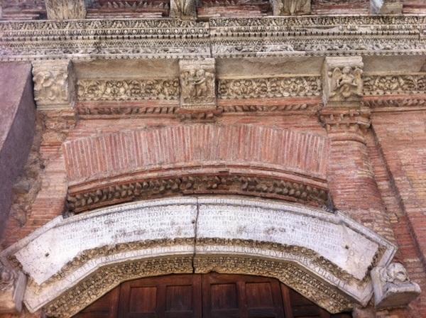 Above the entryway to Casa di Crescenzi, Rome, Italy
