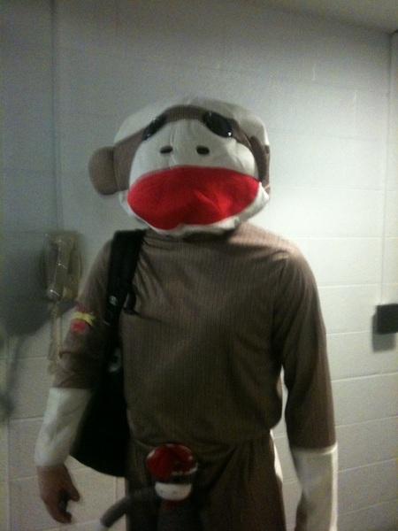 Sogard as sock monkey.  #Athletics