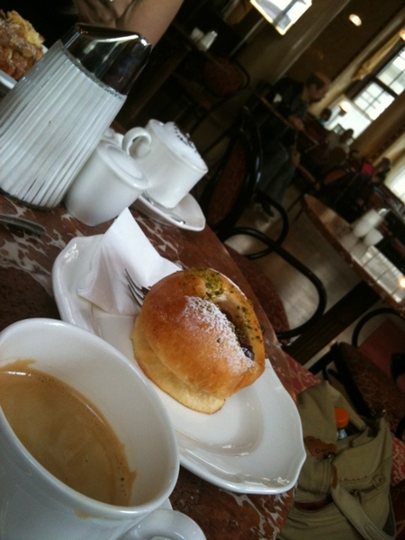 Mokka Swarzwer Kaffe mit Brioche at Cafe Central, Vienna. Nice Sunny day!